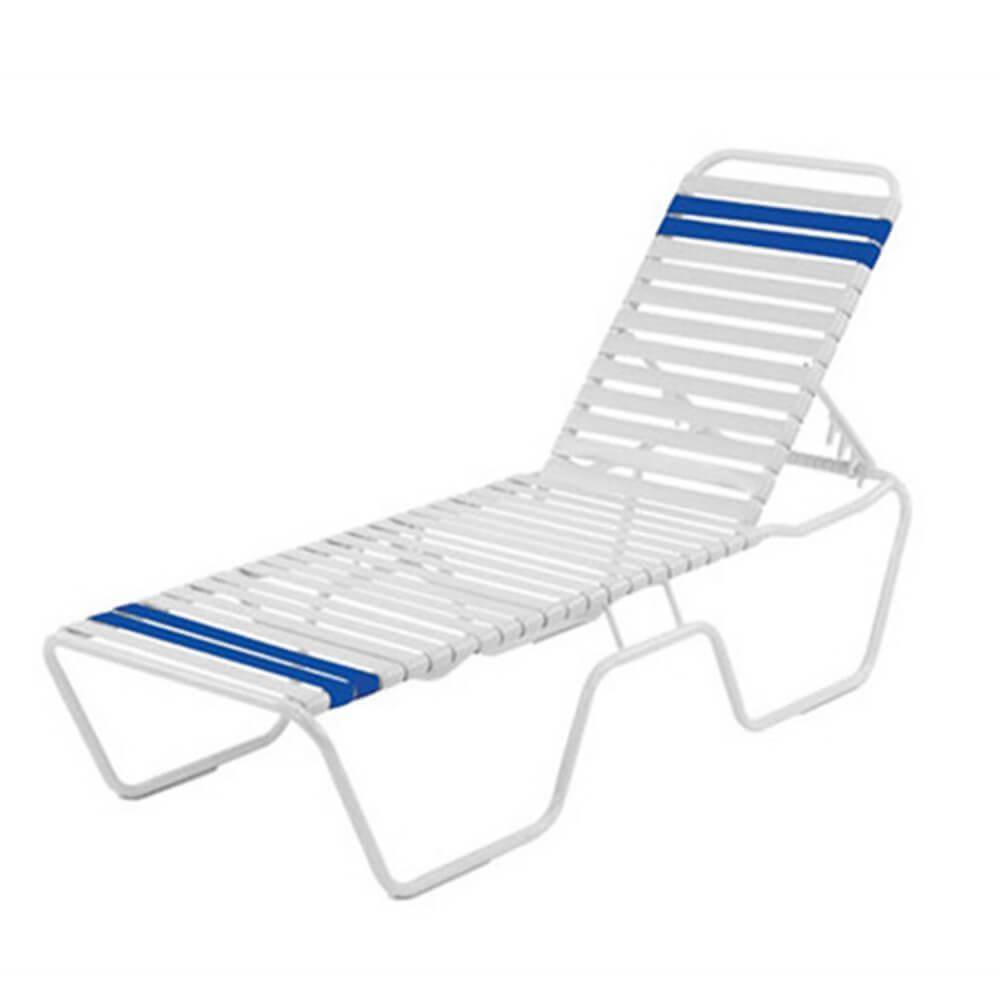 Promo Chaise Promo Pool Furniture St Maarten Chaise Lounge Vinyl Straps With White Aluminum Frame White Or Royal Blue Straps
