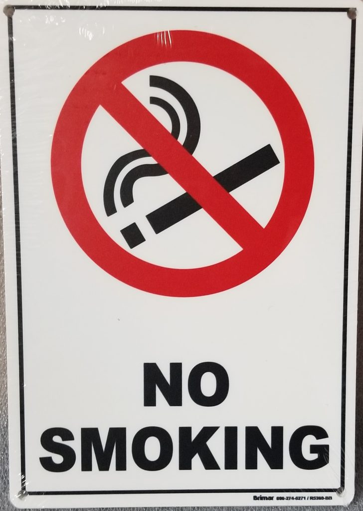 NO SMOKING SIGN WITH SYMBOL - Pool Operation Management