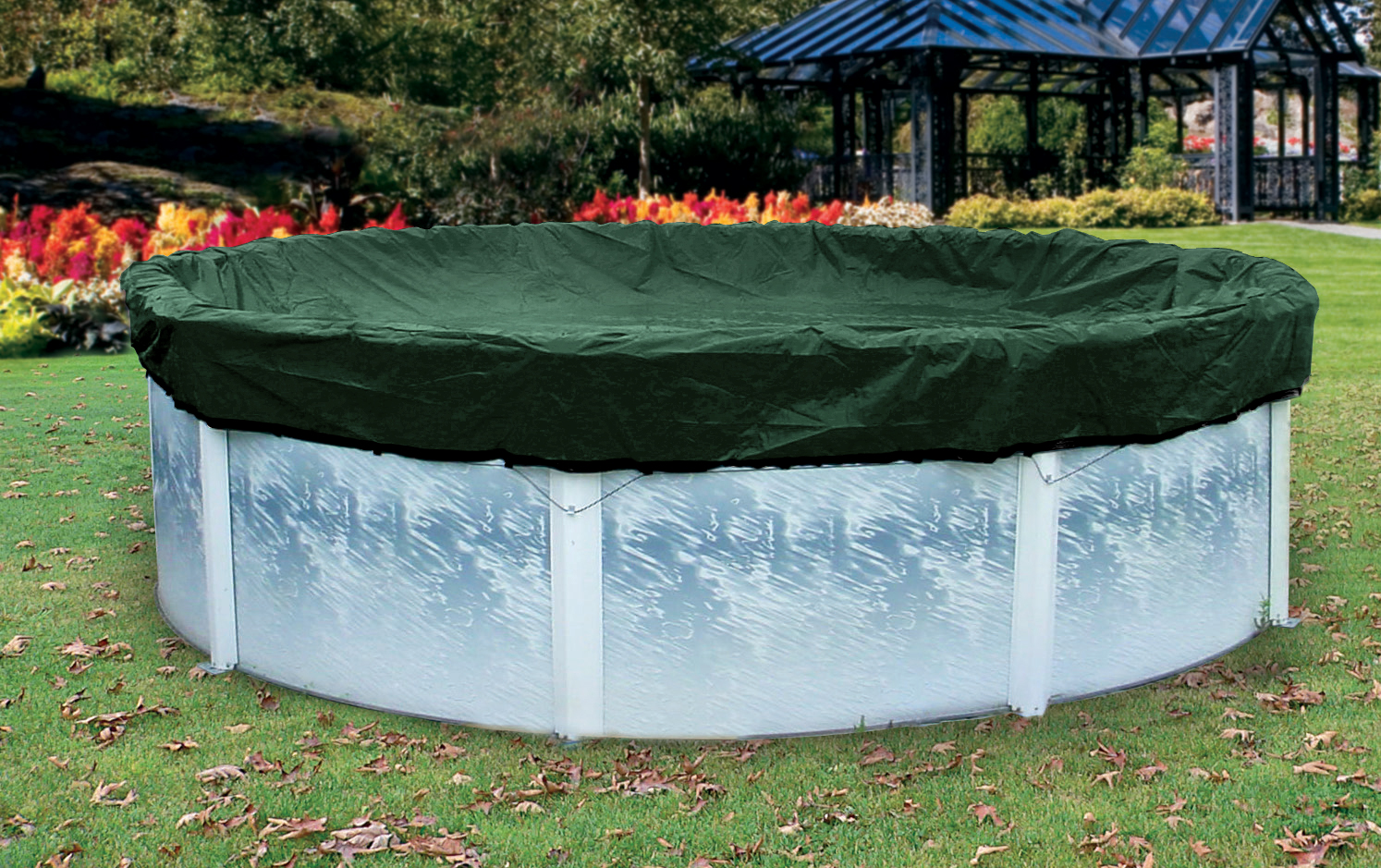 Above Ground Pool Winter Cover 15 X 30 Oval Skirted Winter Cover Green Poolsupplies
