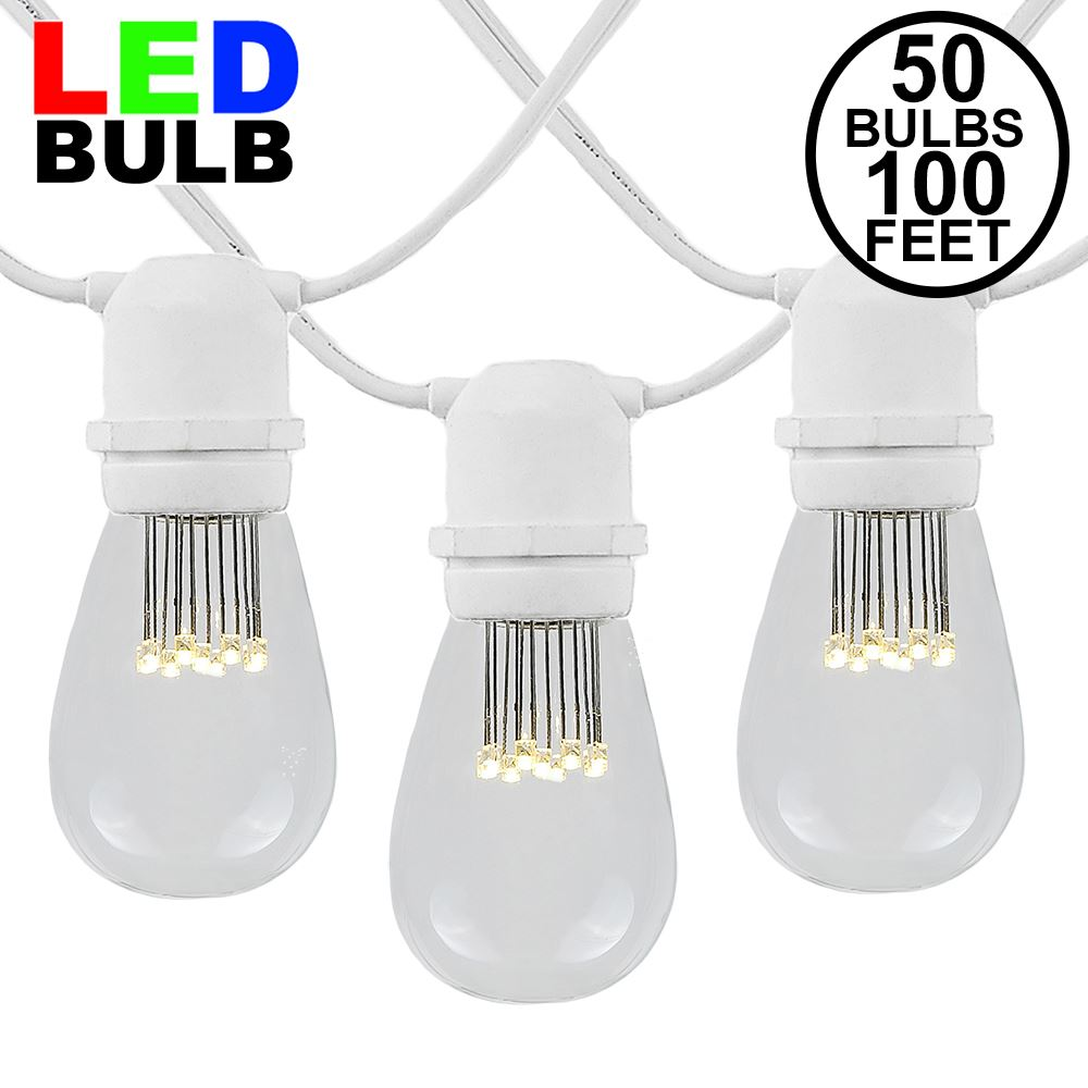 50 Bulb Led 50 Warm White Led S14 Heavy Duty String Light Sets On White Wire