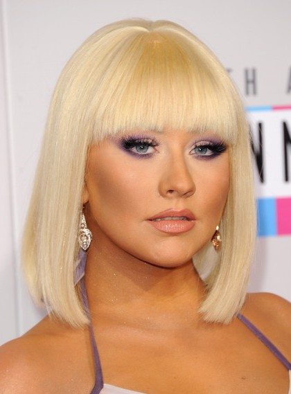 Hairstyle Ideas With Bangs Christina Aguilera Blunt Medium Bob Haircuts 2013