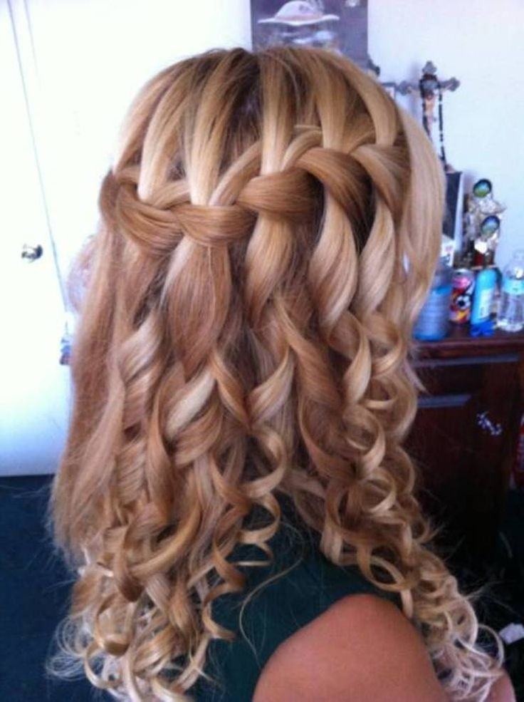 waterfall braid with curls wedding hairstyle waterfall