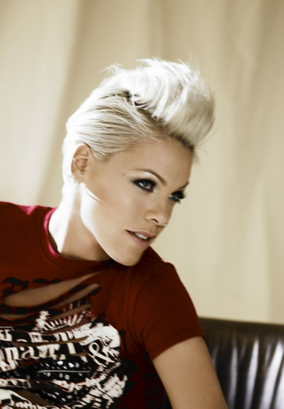 Blonde Hair With Black Roots Pink Very Short Haircut Pixie Hairstyles Popular Haircuts