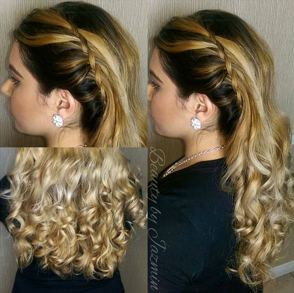 Hairstyles For Prom With Side Braids And Curls
