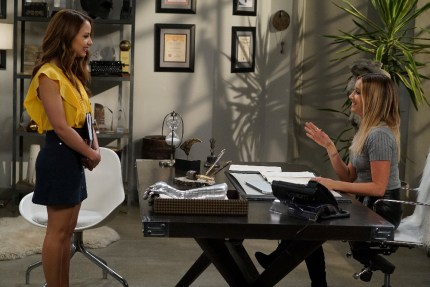 """YOUNG & HUNGRY - """"Young & Sofia"""" - Sofia makes her entry into the world of journalism, working for the formidable Logan Rawlings on a special episode of """"Young & Hungry,"""" airing on WEDNESDAY, JULY 20 (8:00-8:30 p.m. EDT), on Freeform. (Freeform/Eric McCandless) AIMEE CARRERO, ASHLEY TISDALE"""