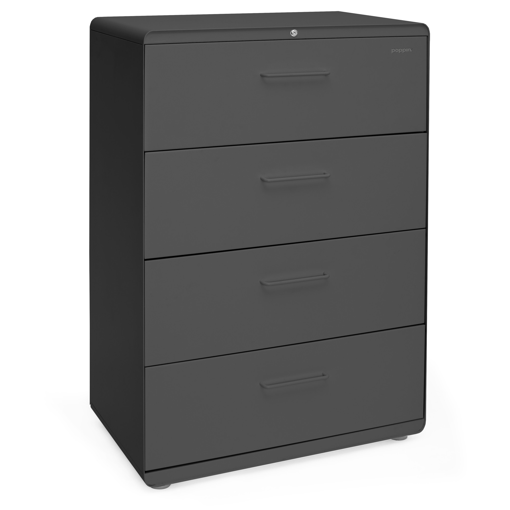 In Cabinet Drawers Charcoal Stow 4 Drawer Lateral File Cabinet File Cabinets And Storage Poppin