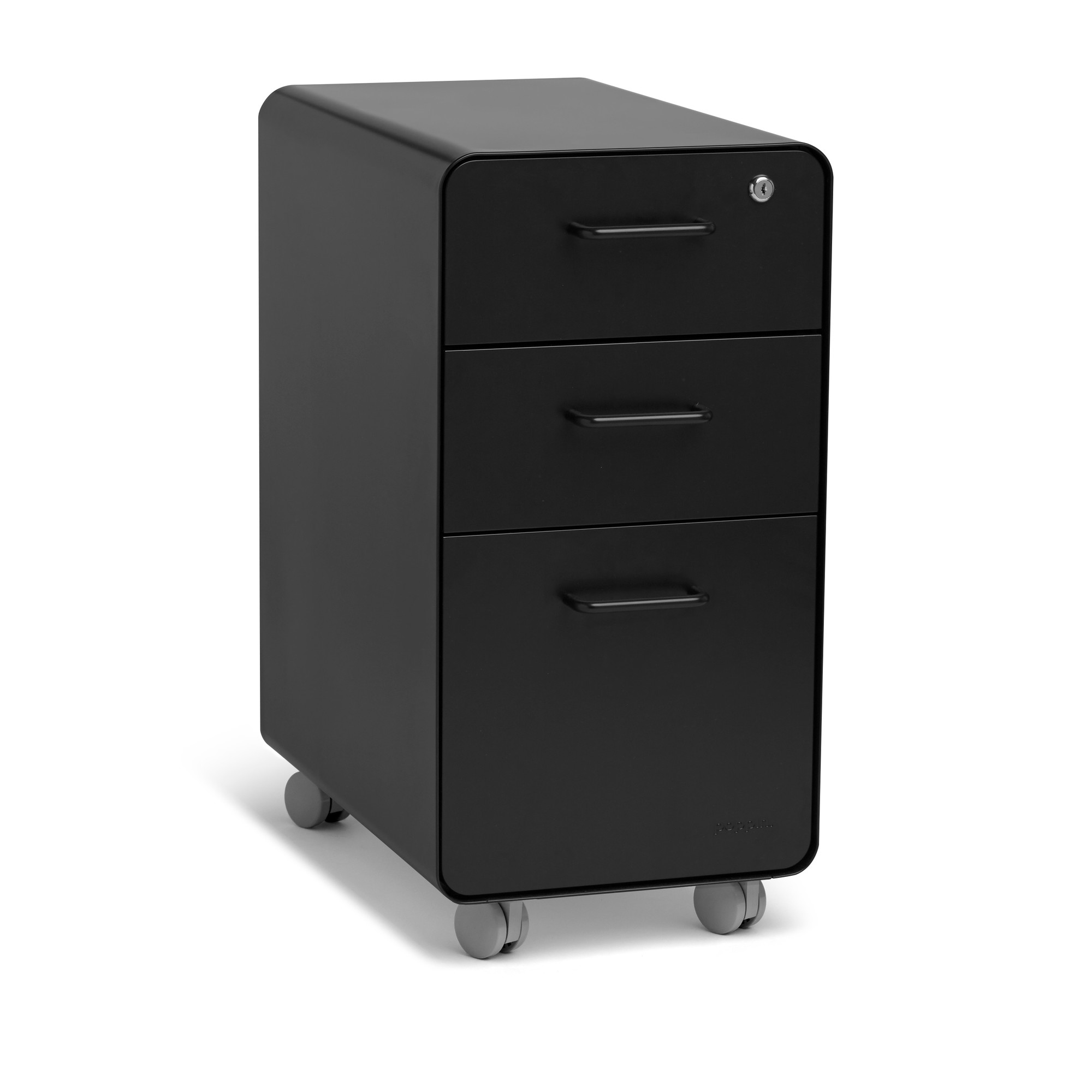 Rolling Filing Cabinets Black Slim Stow 3 Drawer File Cabinet Rolling Rolling File Cabinets Poppin