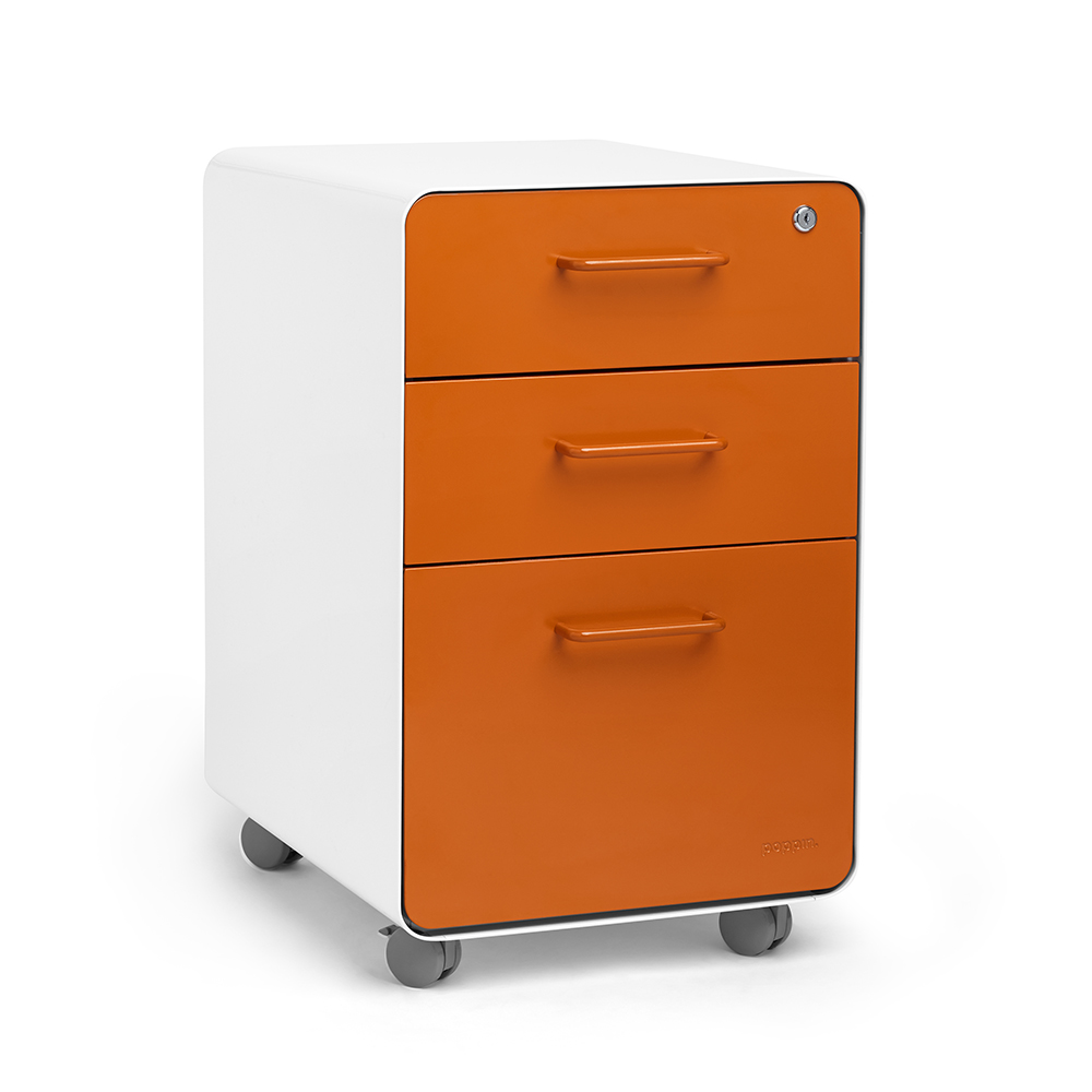 Rolling Filing Cabinets White Orange Stow 3 Drawer File Cabinet Rolling Poppin
