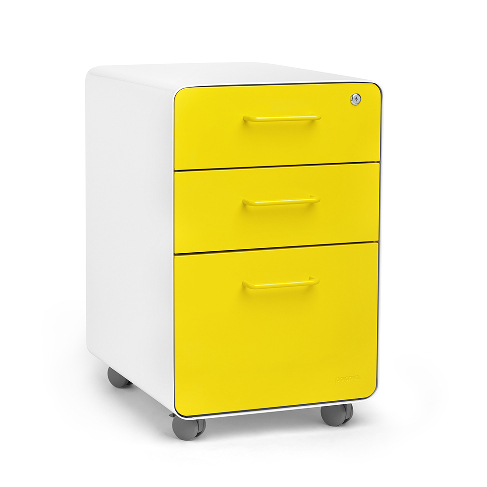 Rolling Filing Cabinets White Yellow Stow 3 Drawer File Cabinet Rolling