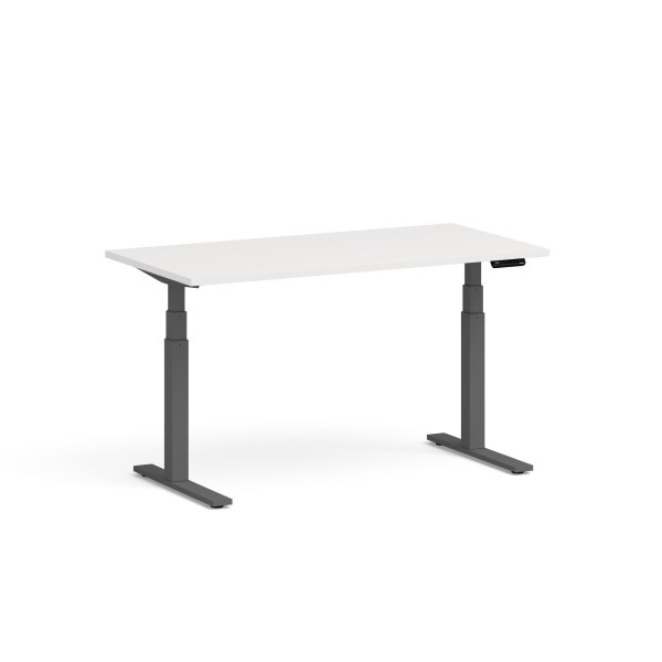Series L Adjustable Height Single Desk Walnut 57 Series L Adjustable Height Single Desk, White, 60