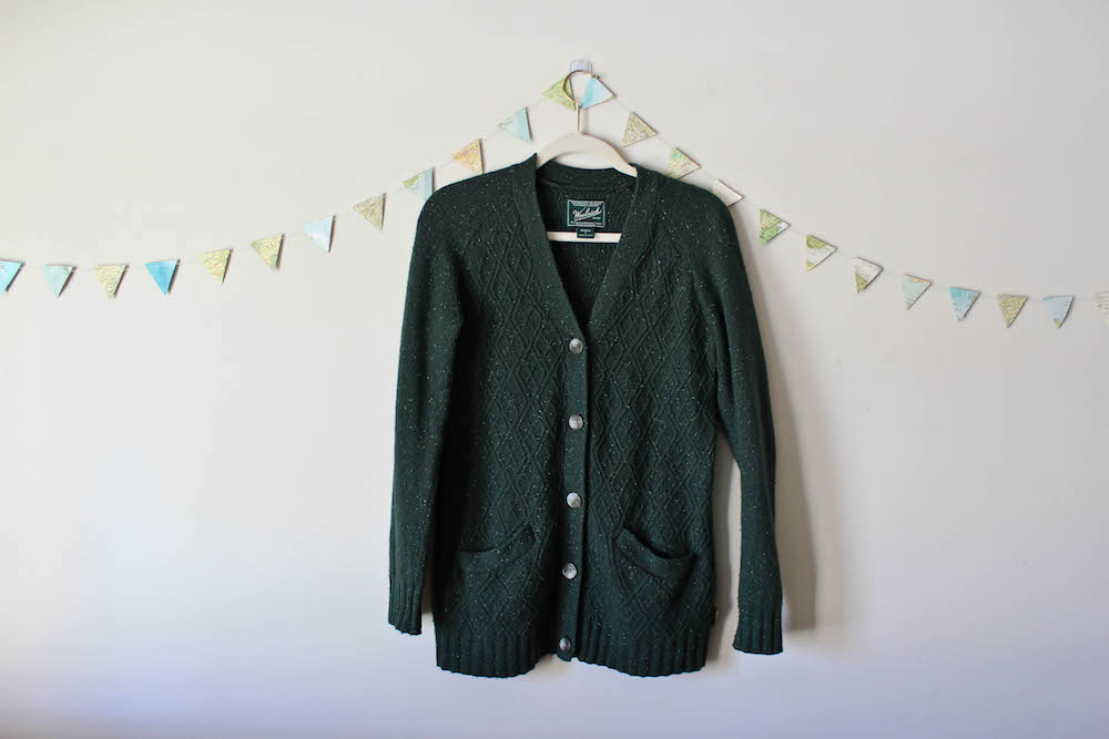 Woolrich Green Cardigan Sweater in a winter capsule wardrobe for Project 333