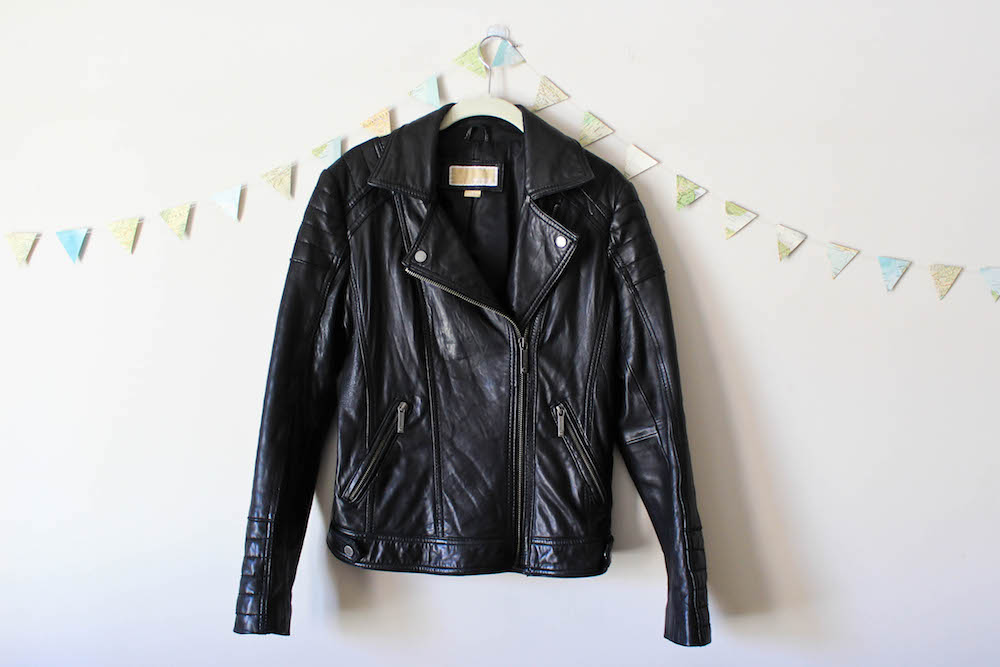 Michael Kors Black Leather Moto Jacket in a winter capsule wardrobe for Project 333