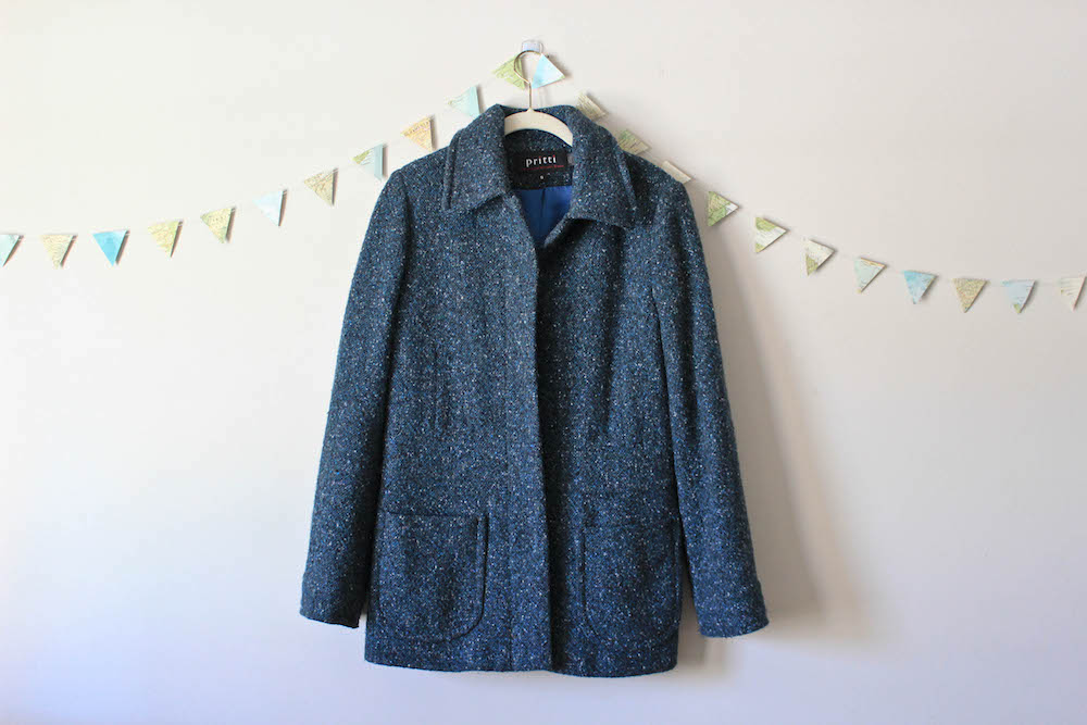 Nordstrom Rack Blue Tweed Coat in a winter capsule wardrobe for Project 333
