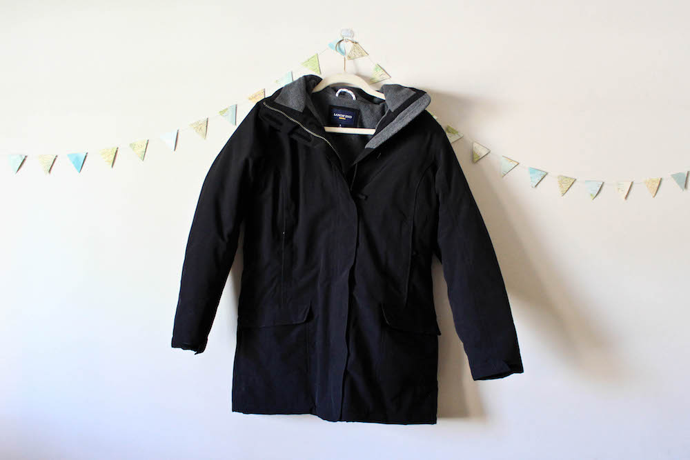 Land's End Squall Parka Snow Coat in a winter capsule wardrobe for Project 333