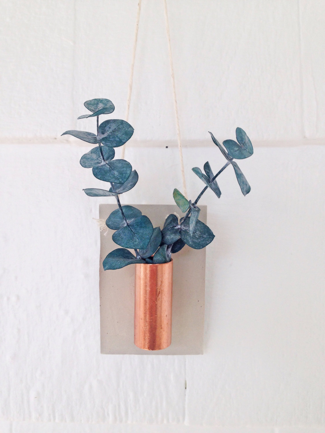 Wall Mounted Plant Holders Taller Concrete And Copper Wall Planter