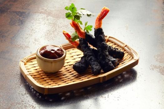 Carbon-battered prawn tempura red curry marinade & soy wasabi mayonnaise