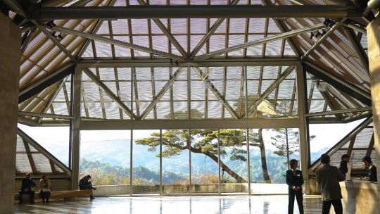 Inside the Miho Museum, which is constructed with Limestone imported from France