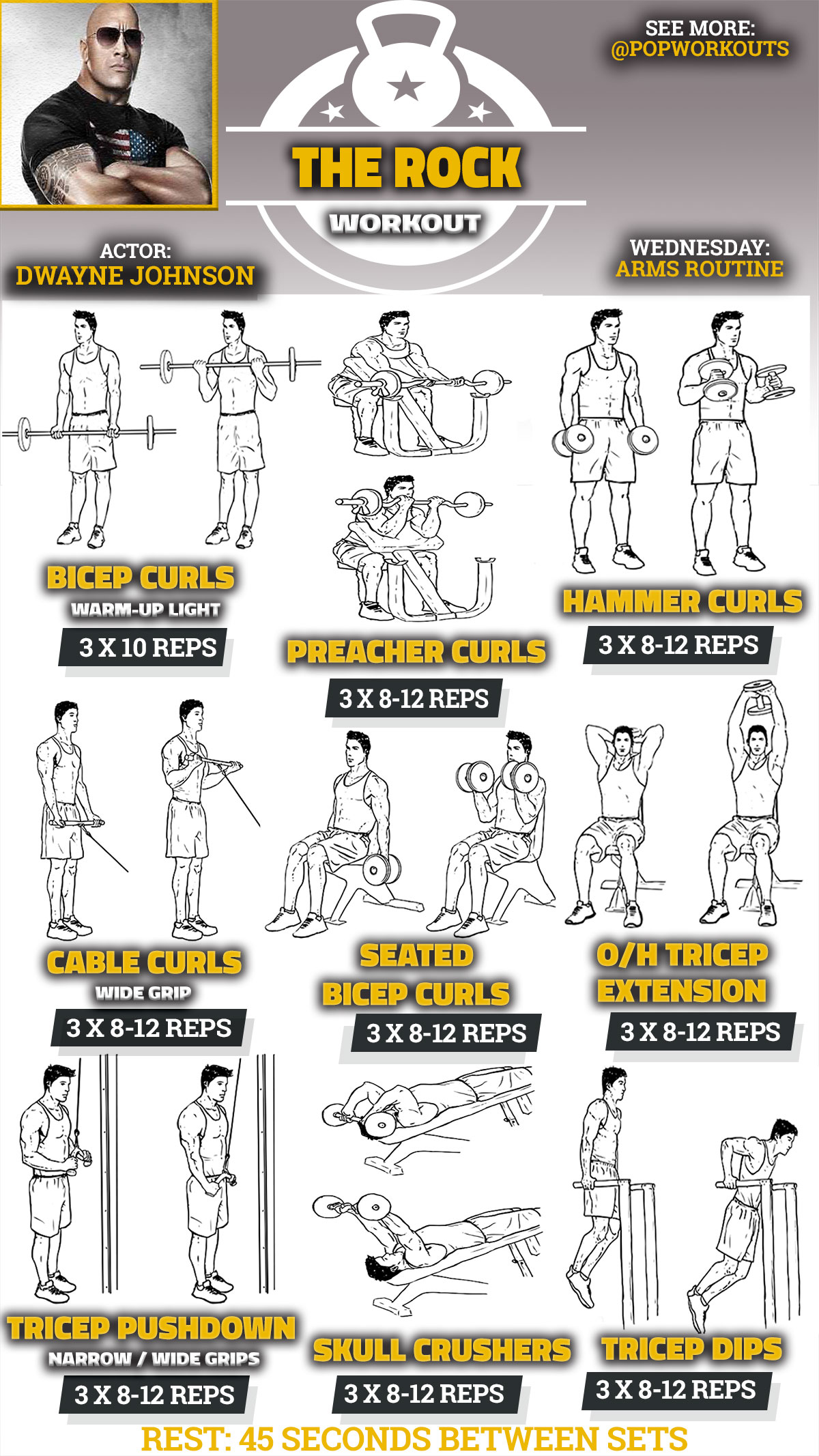 Gym Workout Chart For Chest For Men Get Massive Arms Rock 39s Bicep And Tricep Workout Pop Workouts