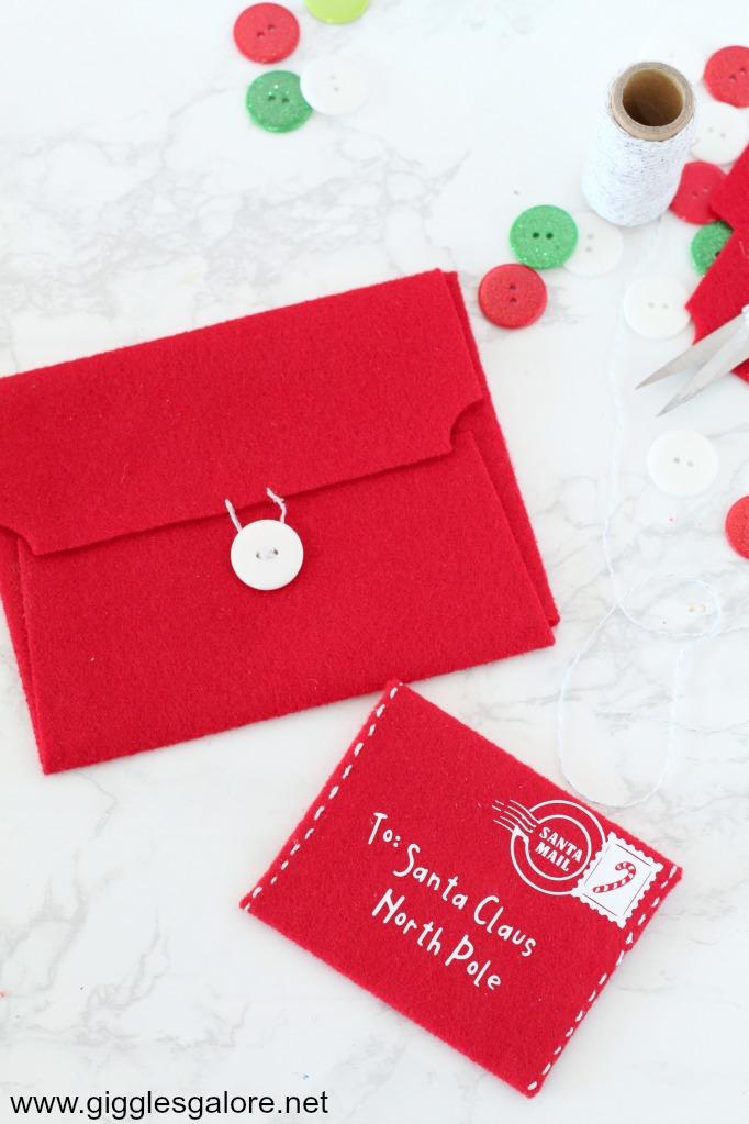 DIY Letter to Santa Felt Envelope - Giggles Galore