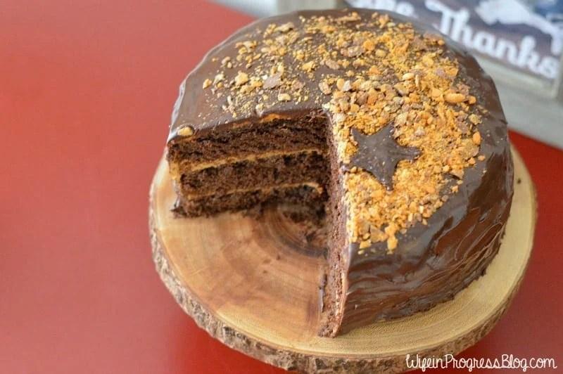 Chocolate Cake With Milk-Chocolate Crunch And Caramel Sauce Recipe ...