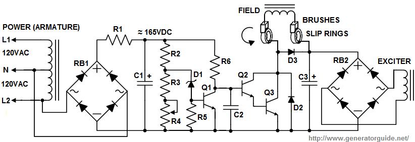 ac generator voltage regulator circuit diagram