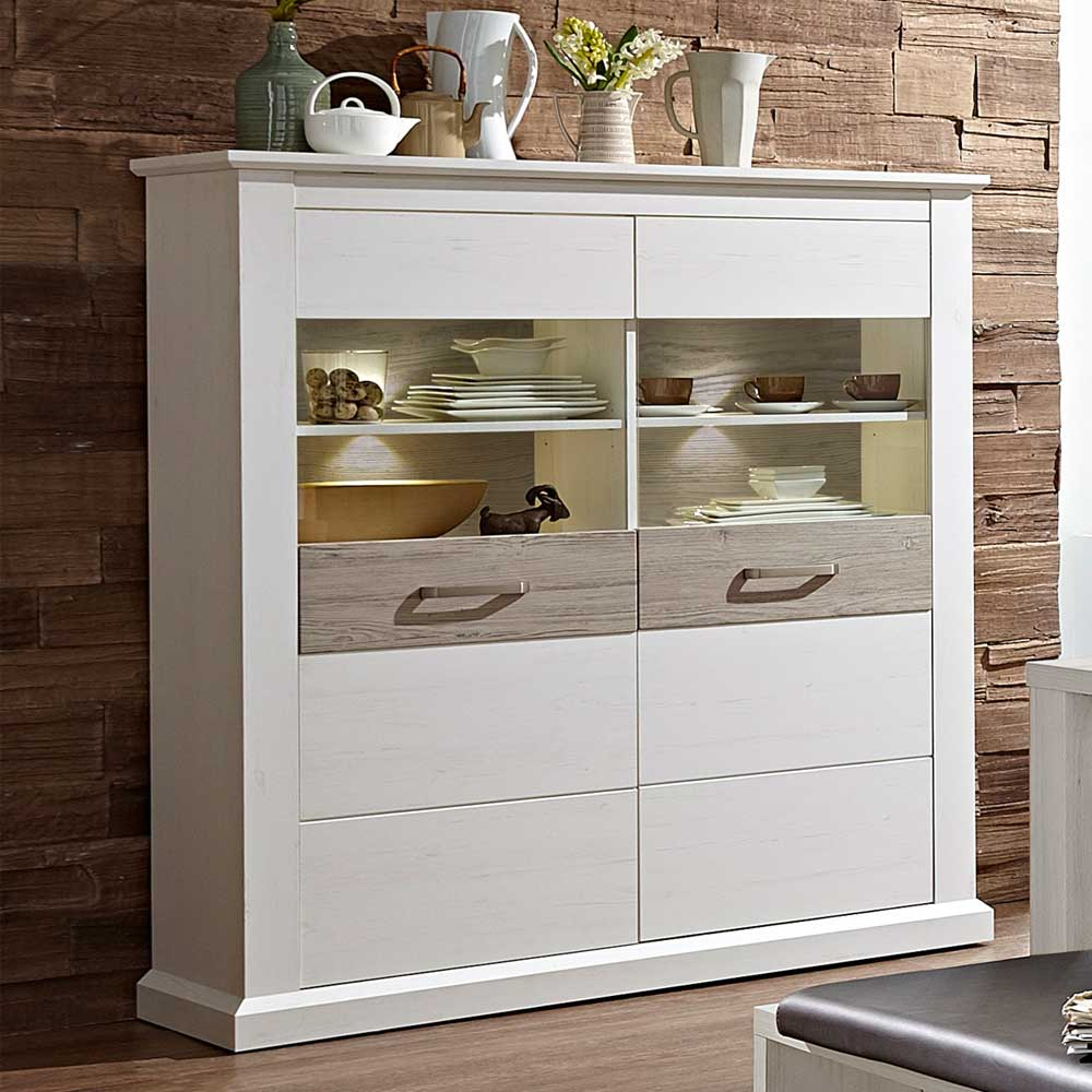 Esszimmer Highboard Esszimmer Highboard In Weiß Taupe Glas