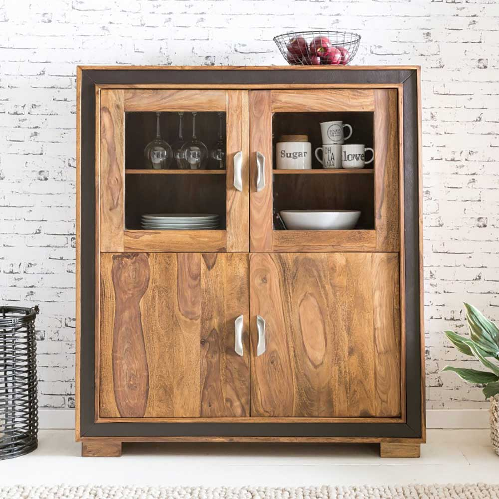 Esszimmer Highboard Esszimmer Highboard Aus Sheesham Massivholz Kunstleder