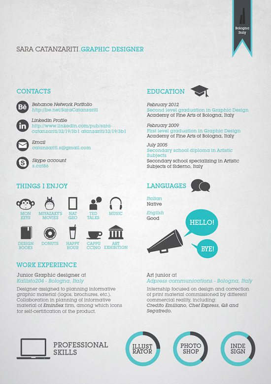 creative-resume-48jpg (550×778) Curriculum Pinterest - good resume design