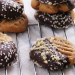 Chocolate-Dipped Peanut Butter Miso Cookies