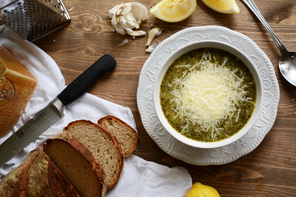 Kale Chickpea Soup with Lemon & Garlic