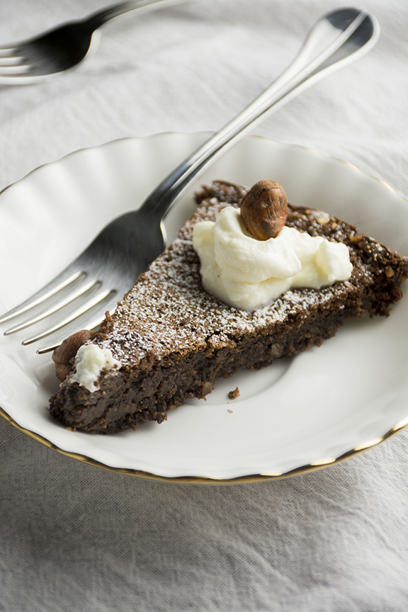 Flourless Guinness Chocolate Cake with Whiskey Whipped Cream