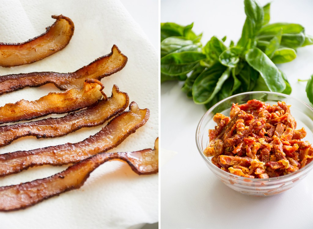 Chicken, Bacon & Sun-dried Tomato Pasta with White Wine & Basil