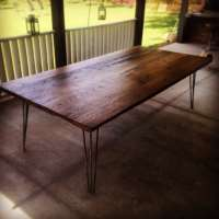 Reclaimed Oak/Ash Integrated Hairpin Leg Frame Patio Table ...