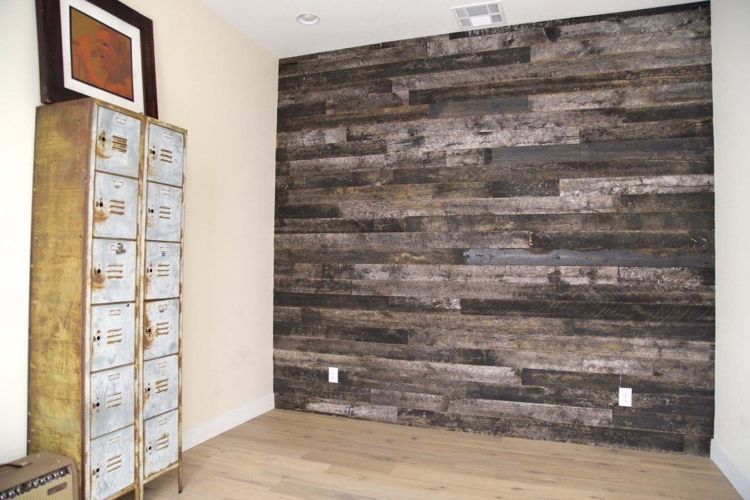 Reclaimed Speckled Black Wood Wall Covering