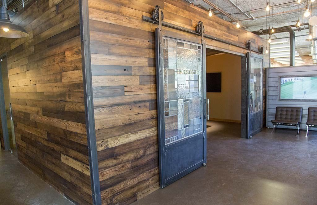 Conference Room Wood Wall Covering  Sliding Steel Doors