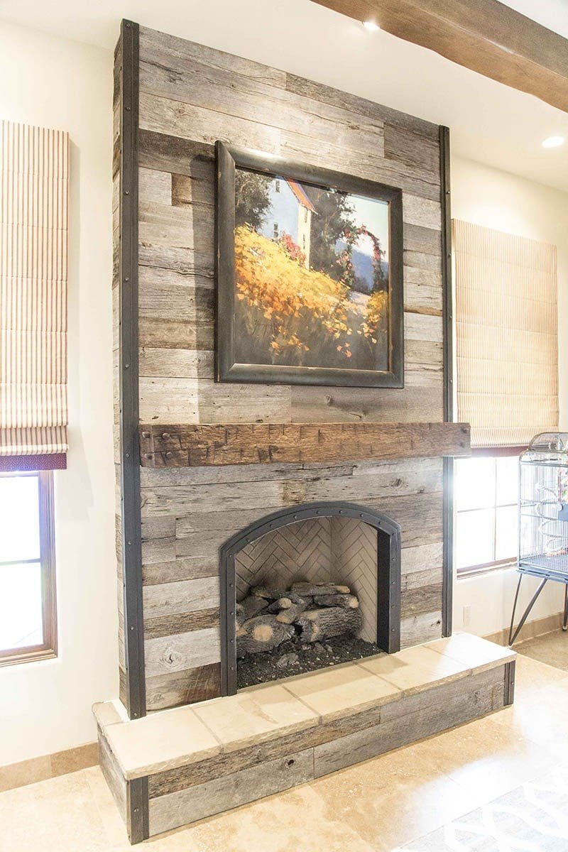 Commercial Kitchen Islands Porter Barn Wood - Tobacco Barn Grey Fireplace Wood Wall