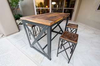 Reclaimed Mixed Hardwoods Table & Stools