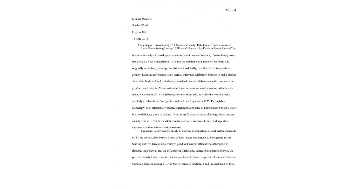 Analyzing on Susan Sontag\u0027s \u201cA Woman\u0027s Beauty\