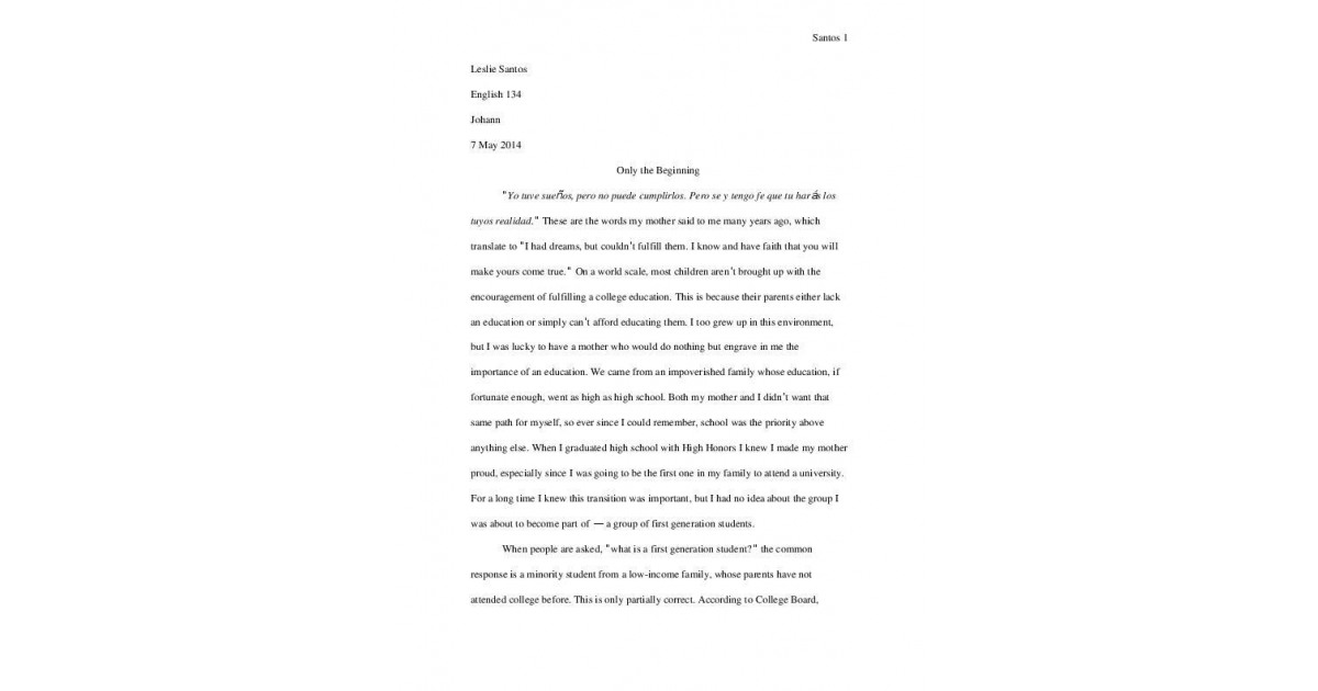 Profile Essay First Generation Students Portfolium