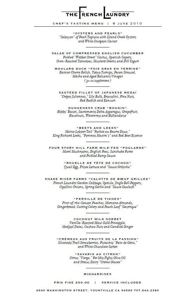 Dare to Dream The French Laundry Menu - Portland Food and Drink