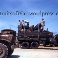 WWII PTO Color Kodachrome Slide - Tire Transport Truck on Guam in Vivid Color