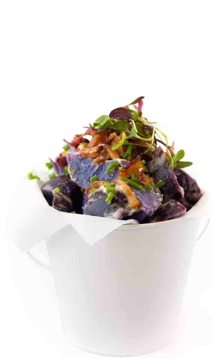Purple Potato Salad with Bacon and Chive
