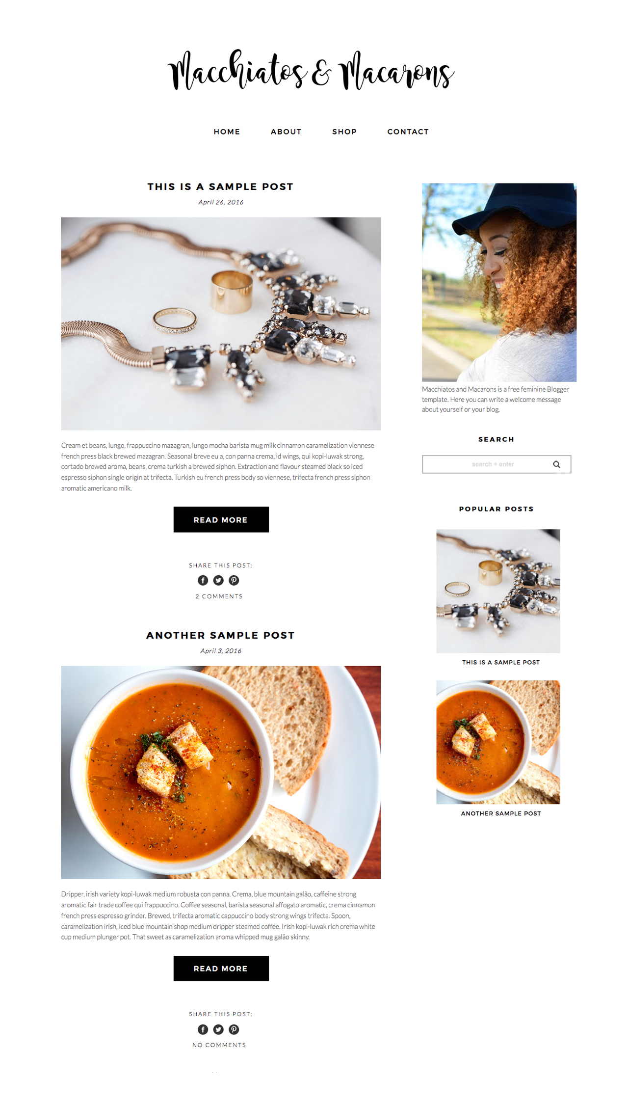 Blogspot Food Blog Free Feminine Blogger Template Macchiatos Macarons