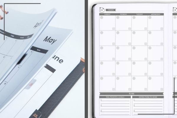 monthly-pages-in-happiness-planner-beside-open-panda-planner-with