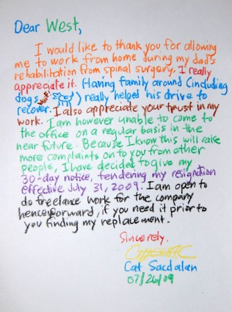 Best resignation letter ever