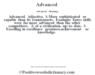 Advanced definition | Advanced meaning - Positive Words ...