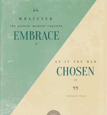 #40: Whatever the present moment contains, embrace it, as if you had chosen it. - Ecjhart Tolle | Chronic Positivity Project | Inspiration Design by Mary Fran Wiley