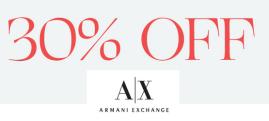 Armani exchange extra 30% off sale