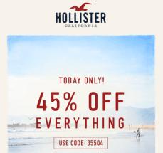 Hollister 45% off
