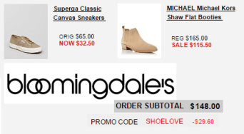 Bloomingdale's 20% off shoes